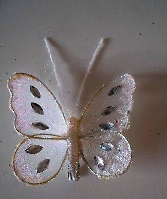 10.0cm wingspan Artificial White Feather Butterfly with Glitter