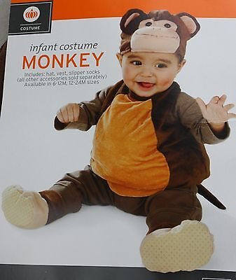 Halloween Infant Monkey Costume Size 6-12 Months 25-29 in Height up 21.5 lbs NWT](12 Month Monkey Costume)
