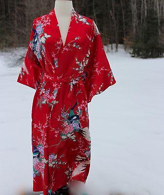 Authentic Japanese Kimono RED Peacock Geisha Costume Robe Juguemm Made In Japan