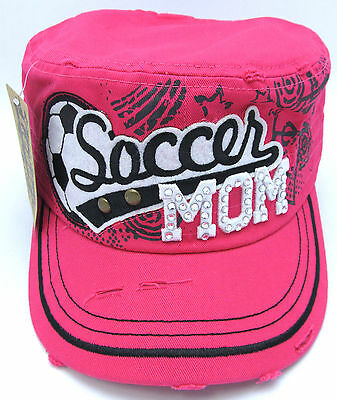 Womens Military Cadet Cap Hat Rhinestone Soccer Mom Distressed Hats Pink NWT ()