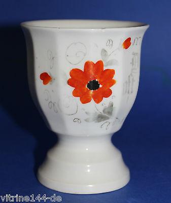 KAKAOBECHER Pokalbecher 'Denk oft an mich' Blumendekor Porzellan