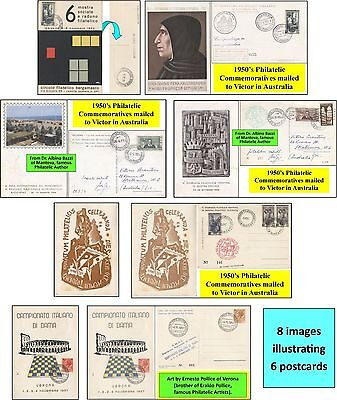 6 ITALY Philatelic Commemorative Postcards to Victor in Australia during 1950s