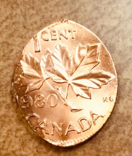 1980 Canada Cent Struck on an Elliptical Planchet  Mint Error  Bright red 1.9g