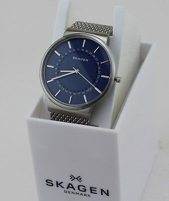 NEW AUTHENTIC SKAGEN ANCHER SILVER MESH BLUE ROTATING DATE MEN'S SKW6234 WATCH