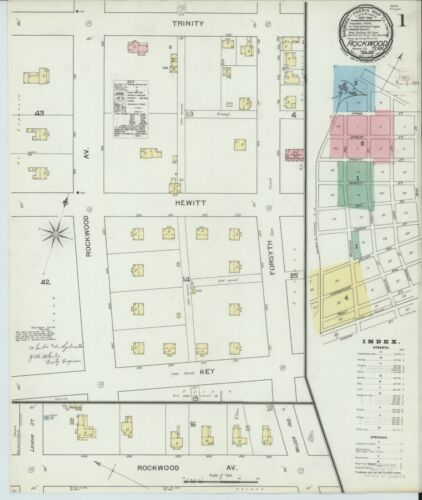 Rockwood, Tennessee~Sanborn Map© sheets~33 maps in color~1893 to 1913