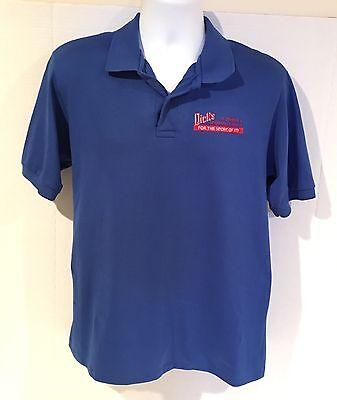Dicks Sporting Goods Uniform Employee Shirt Royal Blue Vintage Polo Golf Large