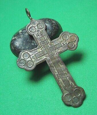 Ancient Bronze Cross Wearable Pendant Antique Rare C187