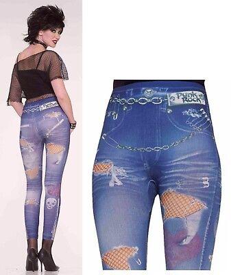 80s PUNK ROCK Retro Jean Leggings FAUX TATTERED Torn Pant Costume size XS/S B206](Sb Halloween Costumes)