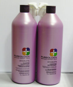 Pureology Hydrate Shampoo and Conditioner 33.8 oz Liter Set Duo PACK w Pumps