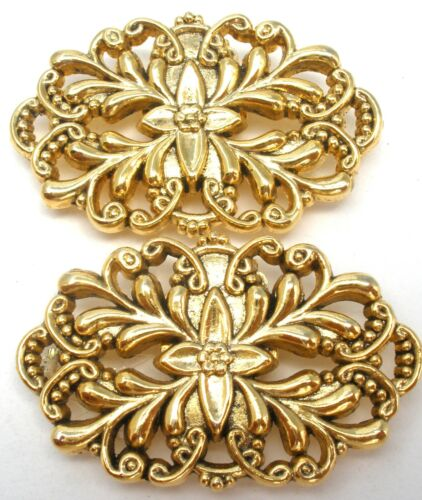 Vintage Pair of Shoe Clips Gold Tone Open Work Design Wedding Jewelry