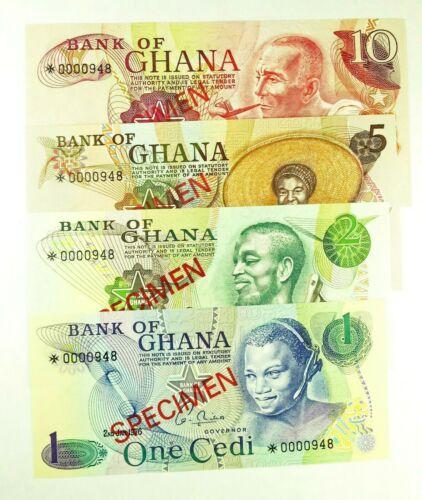Rare Uncirculated Ghana SPECIMEN Set,  1, 2, 5, and 10 Cedi Banknotes