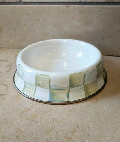 Mackenzie CHILDS PARCHMENT Check pet Dog Cat dish - new & sold out in stores