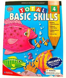 Math/English/Grammar 4th Grade workbook 352p Total Basic Skills kids book fourth