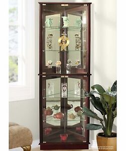 Amazing Lighted Curio Cabinet Storage Tall Corner 5 Shelves Mirrored Display  Furniture