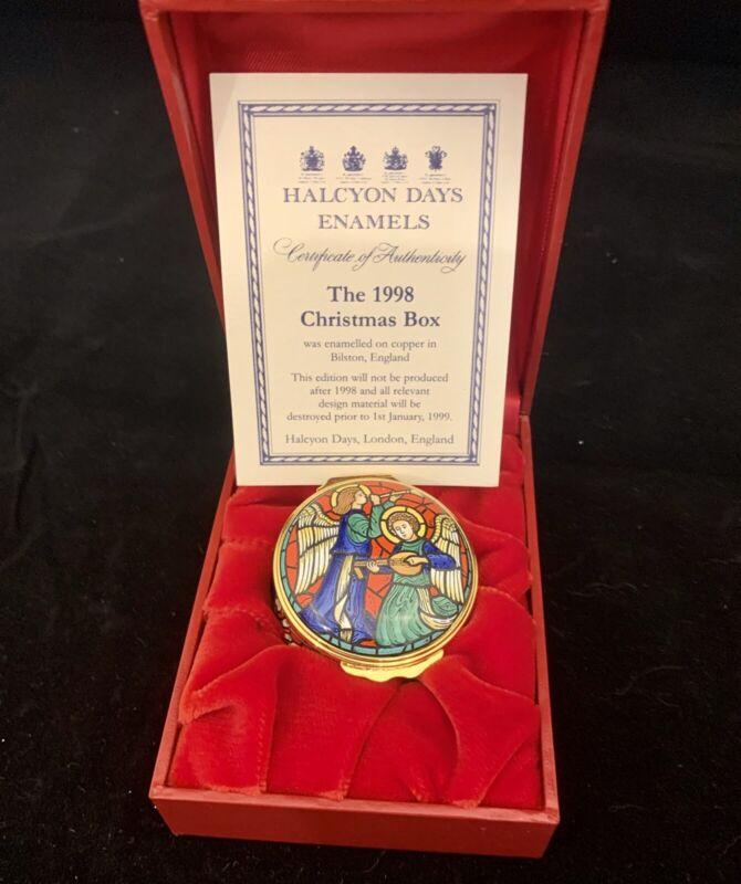 1998 HALCYON DAYS CHRISTMAS ENAMEL BOX - IN BOX