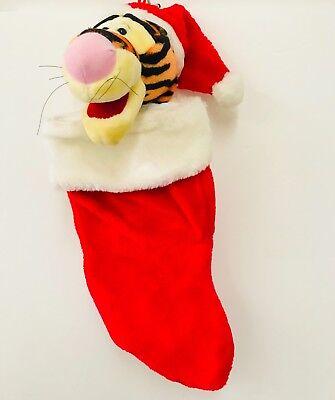 "Tigger Winnie The Pooh Christmas Stocking Stuffed Head Plush 3D 20"" Santas Best"