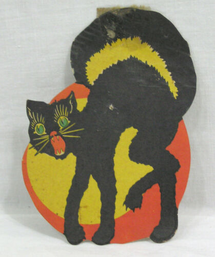 Vtg HALLOWEEN Diecut Snarling Arched Back Black Cat Orange Yellow Disc 1930s