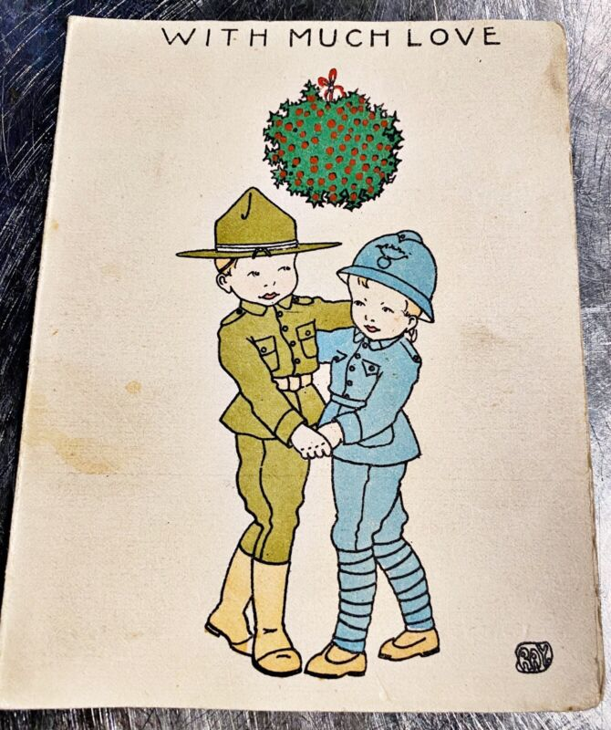VTG WWI 1918 YMCA Folding Christmas Card French US Soldiers RAY Artist Calendar
