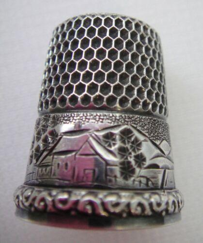 Antique Simon Bros SBC Sterling Silver Cottage &Landscape Thimble Sz 9 Inscribed