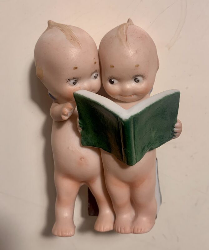 """Antique Bisque Pair of Kewpie Dolls Reading an Open Book Lawyers 3 1/2"""""""