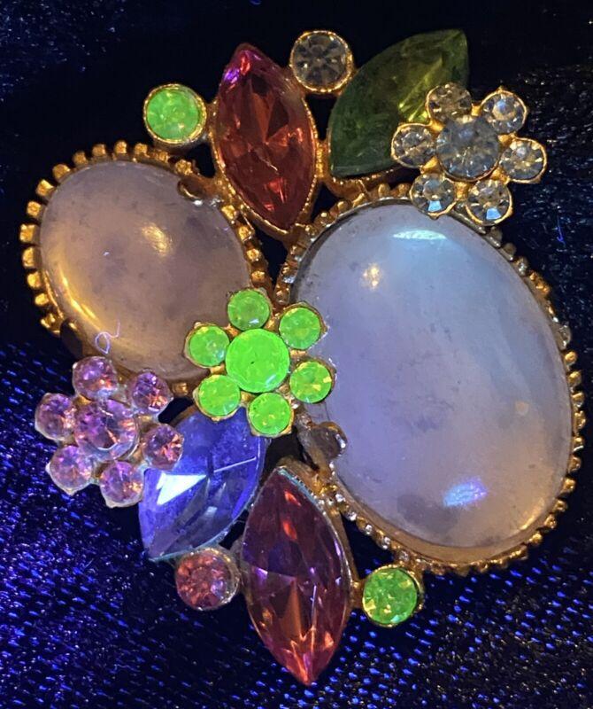 Gorgeous Vintage Vaseline Uranium Glass Brooch