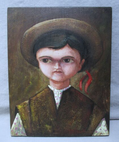 R.R. Pineda Mexican Folk Art Painting on Wood ~ Child In Hat With Ribbon