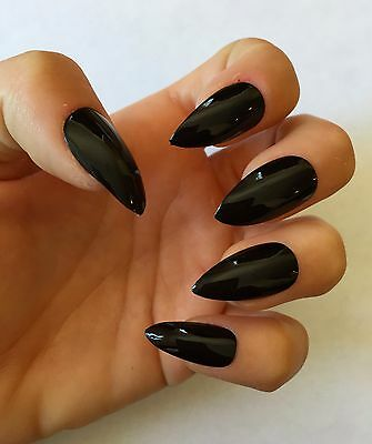 SALE! Set of 20 Black Press On Stiletto Nails Claws
