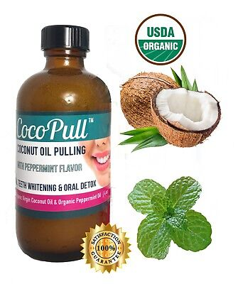 Coconut Oil Pulling Rinse Mouthwash- Teeth Whitening Best Bad Breath Remedy-