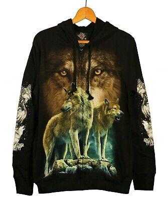 Geist Wolf Paar Gr. M Hoodie Kapuze Biker Western Indianer   (Wolf Kapuze)