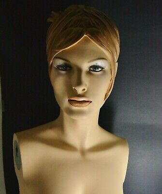 Vtg Mannequin Female Torso Display Bust Shabby Eyelashes Molded Hair Breasts