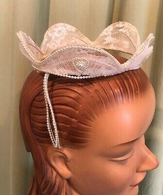 Vintage Beaded Off White Bridal Wedding Headpiece Beaded Pearl Sweetheart Crown
