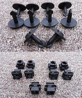AUDI PLASTIC ENGINE UNDERTRAY CLIPS AND CLAMPS SPLASHGUARD UNDER COVER SET OF 10