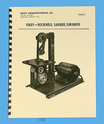 Foley Rockwell Sander - Grinder Model 371-02 Operator Parts Manual 1153