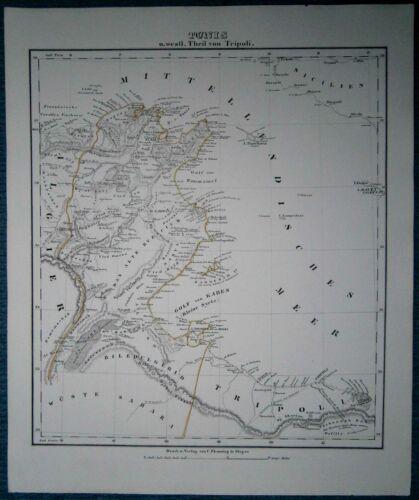 1849 Sohr Berghaus map TUNISIA AND WESTERN LIBYA (#8)
