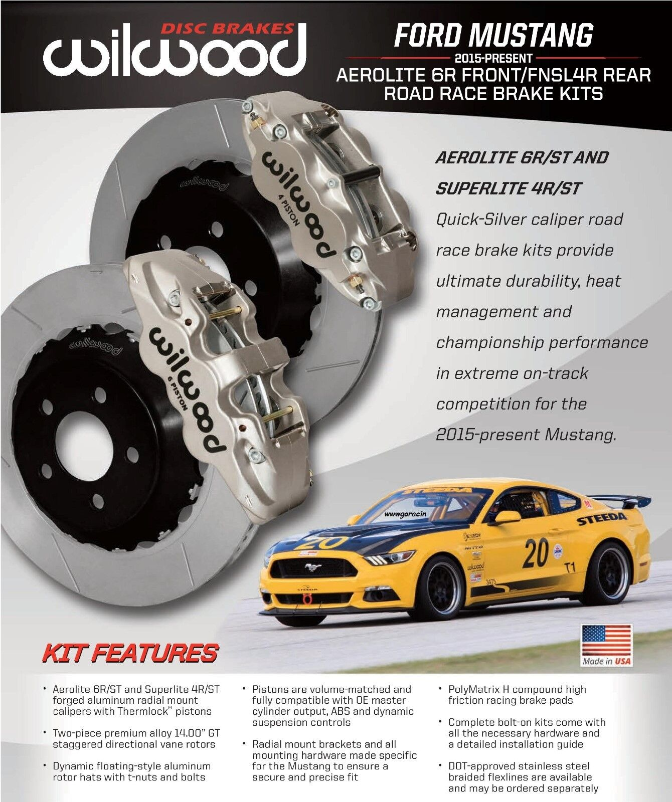 Wilwood Front & Rear Road Race Brake Kit - 2015-18 Ford Mustang,GT-GT350,SCCA'