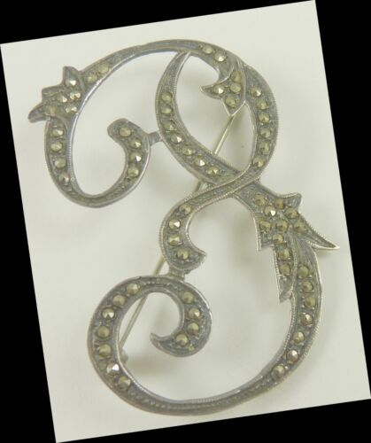 Marcasite Sterling Pin   WHAT INITIAL IS THIS  ????    F