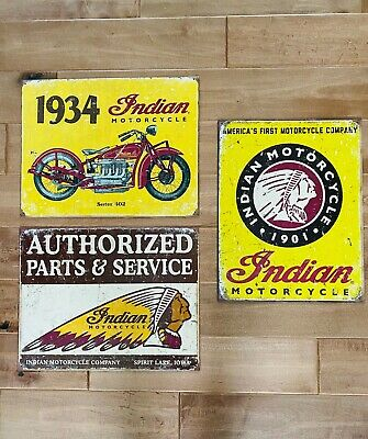 "Three Indian Motorcycle Metal Tin Signs Garage Shop Man Cave 12.5"" X 16"" New"