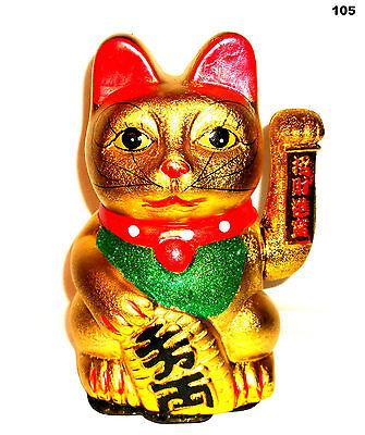Keramik Winkekatze Glückskatze Katze Maneki Neko Gold Geld Glücksbringer 17,5cm