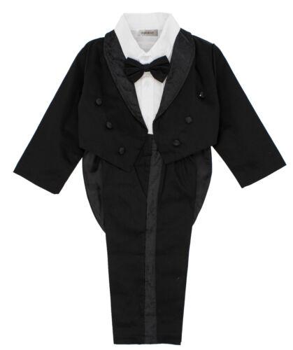 Stylesilove Toddler Baby Boy Black & White Tuxedo Formal Wedding 3pcs Outfit