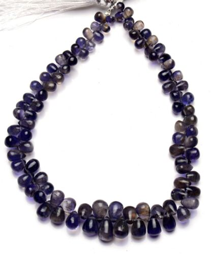 """Natural Gem Iolite 6x4 to 9x6MM Smooth Teardrop Shape Beads 9.5"""" Water Sapphire"""