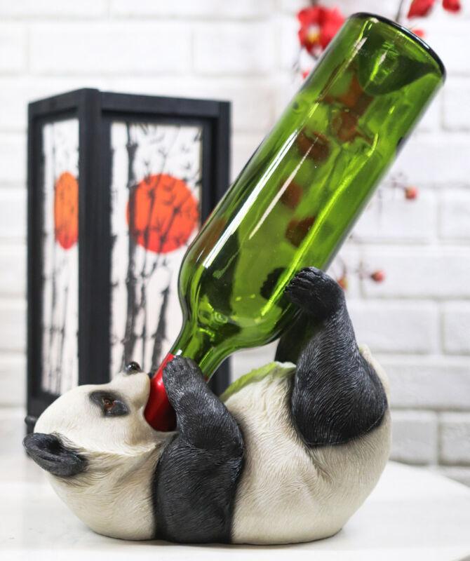 "Panda Wine Bottle Holder Home Kitchen Bar Decoration Figurine Statue Gift 8.5""L"