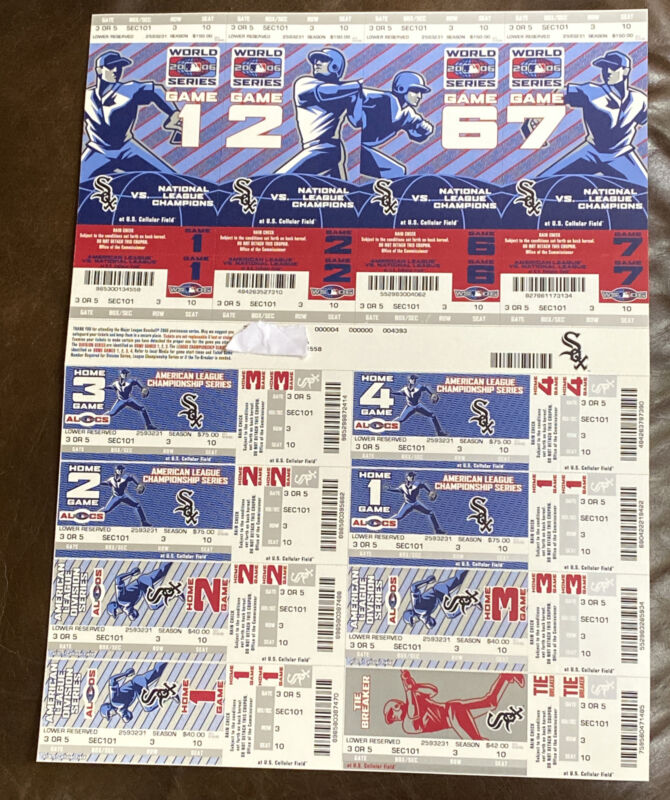 2006 Chicago White Sox Phantom Playoff Strip Including 4 World Series Tickets