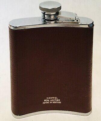 H. Samuel Vintage 1977 Stainless Steel leather pocket Bottle Flagon 6oz 177ml