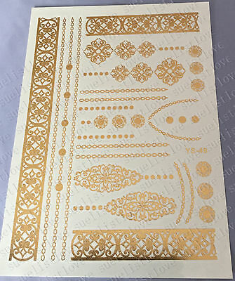 new Temporary Metallic Tattoo Gold Silver Black Flash Tattoos Flash Inspired 1pc on Rummage