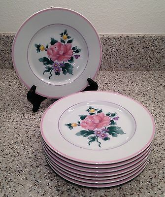 "Fitz and Floyd COUNTRY BOUQUET Pattern 7 1/2"" SALAD PLATES Set of 8"