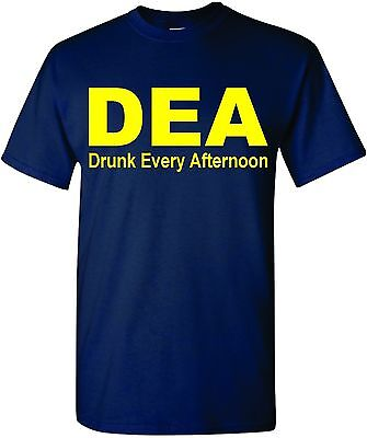 DEA DRUNK EVERY AFTERNOON FUNNY MEN'S T-SHIRT TEE DRINKING ALCOHOL COLLEGE (Drunk Drinking T-shirt)