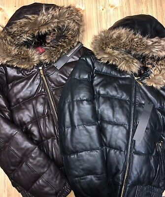 Sean Jean Leather Winter Coats with Faux Fur Hood Size L/XL Black and Chocolate Chocolate Black Denim Jean