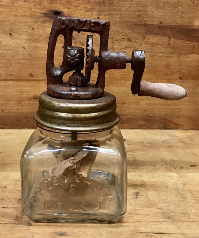 """No. 5 DAZEY Churn Glass Butter Churn, """"Dazey"""" on the Handle, with Wood Paddle"""