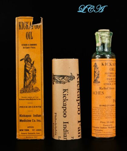 The Real Thing = KICKAPOO INDIAN OIL antique QUACK MEDICINE bottle IN orig. BOX