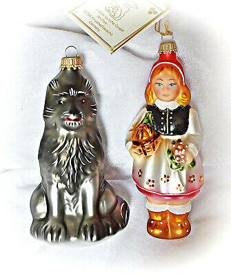 ❀ Rotkäppchen und der Wolf Lauscha Glas MärchenSet Christbaumschmuck #97B